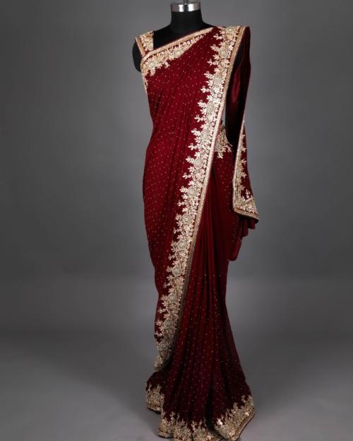 Saree - Garnet red 5712