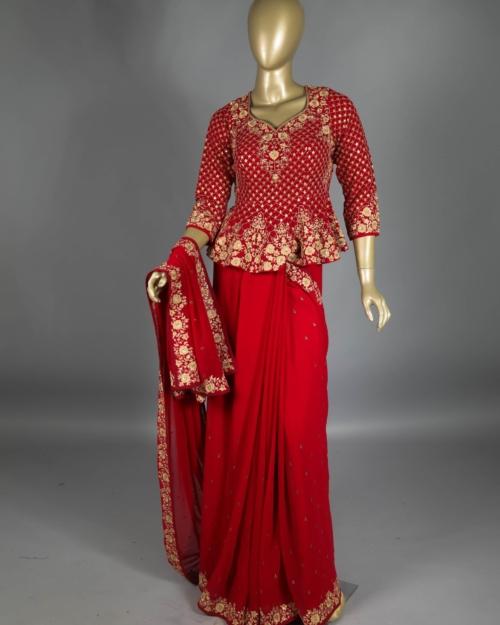 Saree - Rose Red 4567